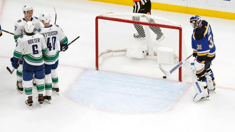 <p>               Vancouver Canucks' Nikolay Goldobin (77), of Russia, is congratulated by teammates Brock Boeser (6) and Elias Pettersson (40) after scoring past St. Louis Blues goaltender Chad Johnson (31) during the second period of an NHL hockey game Sunday, Dec. 9, 2018, in St. Louis. (AP Photo/Jeff Roberson)             </p>