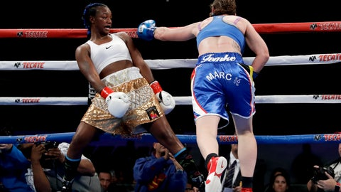 <p>               Claressa Shields, left, avoids a punch from Belgium's Femke Hermans, during their WBC/IBF/WBA middleweight title boxing match, Saturday, Dec. 8, 2018, in Carson, Calif. (AP Photo/Chris Carlson)             </p>