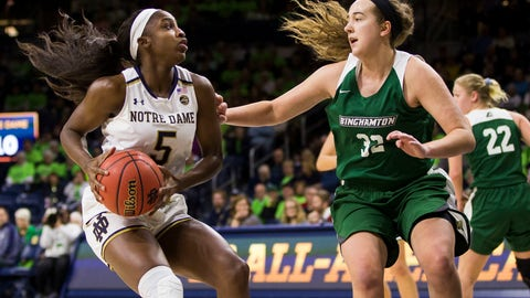 <p>               Notre Dame's Jackie Young (5) drives against pressure from Binghamton's Carly Boland (32) during the first half of an NCAA college basketball game Sunday, Dec. 16, 2018, in South Bend, Ind. (AP Photo/Robert Franklin)             </p>