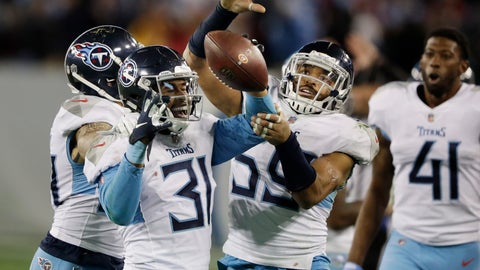 <p>               Tennessee Titans free safety Kevin Byard (31) celebrates after intercepting a pass against the Washington Redskins late in the fourth quarter of an NFL football game Saturday, Dec. 22, 2018, in Nashville, Tenn. (AP Photo/James Kenney)             </p>