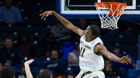 <p>               Notre Dame's Juwan Durham (11) blocks a shot during an NCAA college basketball game against Jacksonville Thursday, Dec. 20, 2018. in South Bend, Ind. (Michael Caterina/South Bend Tribune via AP)             </p>