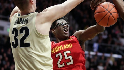 <p>               Maryland forward Jalen Smith (25) loses the ball next to Purdue center Matt Haarms (32) during the first half of an NCAA college basketball game in West Lafayette, Ind., Thursday, Dec. 6, 2018. (AP Photo/Michael Conroy)             </p>