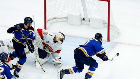 <p>               St. Louis Blues' Brayden Schenn, right, scores past Florida Panthers goaltender Roberto Luongo as Blues' Alexander Steen, left, watches during the third period of an NHL hockey game, Tuesday, Dec. 11, 2018, in St. Louis. The Blues won 4-3. (AP Photo/Jeff Roberson)             </p>