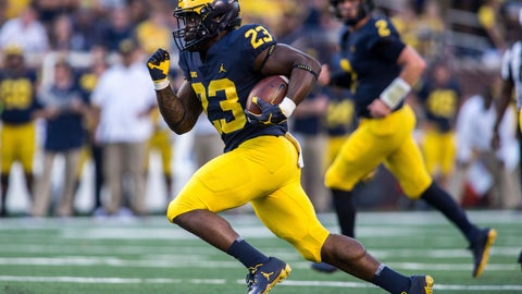<p>               FILE - In this Sept. 15, 2018, file photo, Michigan running back O'Maury Samuels (23) rushes in the fourth quarter of an NCAA college football game against SMU, in Ann Arbor, Mich. Michigan dismissed running back O'Maury Samuels from its football program the same day he was arraigned on two charges, including one for domestic violence. The school did not say why the move was made Wednesday, Dec. 12, 2018, when Samuels was charged with domestic violence and malicious destruction of personal property. (AP Photo/Tony Ding, File)             </p>
