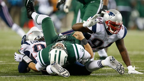 "<p>               FILE - In this Nov. 22, 2012, file photo, New York Jets quarterback Mark Sanchez is hit by New England Patriots defensive end Jermaine Cunningham (96) and Justin Francis (94) during the second half of an NFL football game in East Rutherford, N.J. For a guy who was a first-round NFL draft pick and played in a pair of AFC title games at the outset of his professional career, Sanchez knows that, fairly or not,  his name is associated with something forever known as ""The Butt Fumble.""  (AP Photo/Julio Cortez, File)             </p>"