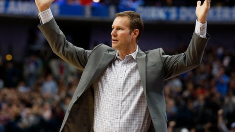<p>               FILE - In this Oct. 22, 2018, file photo, Chicago Bulls head coach Fred Hoiberg questions a call during the second half of an NBA basketball game against the Dallas Mavericks, in Dallas. The Bulls fired Hoiberg Monday, Dec. 3, 2018. (AP Photo/Michael Ainsworth, File)             </p>