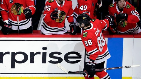 <p>               Chicago Blackhawks right wing Patrick Kane (88) celebrates with teammates after scoring his second goal during the second period of an NHL hockey game against the Minnesota Wild, Thursday, Dec. 27, 2018, in Chicago. (AP Photo/Nam Y. Huh)             </p>