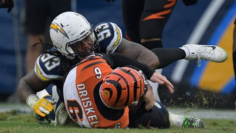 <p>               Los Angeles Chargers defensive tackle Darius Philon, top, sacks Cincinnati Bengals quarterback Jeff Driskel (6) on a two-point conversion attempt late in the fourth quarter during an NFL football game Sunday, Dec. 9, 2018, in Carson, Calif. (AP Photo/Mark J. Terrill)             </p>