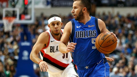 <p>               Dallas Mavericks guard J.J. Barea (5) dribbles past Portland Trail Blazers guard Seth Curry (31) during the first half of an NBA basketball game, Tuesday, Dec. 4, 2018, in Dallas. (AP Photo/Ron Jenkins)             </p>