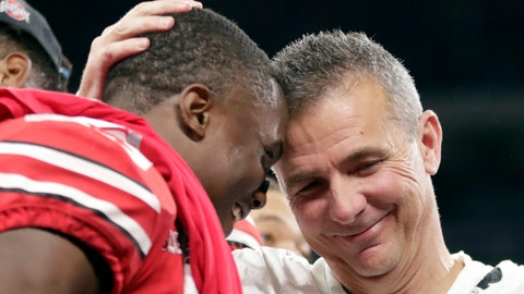 <p>               Ohio State head coach Urban Meyer and wide receiver Terry McLaurin, left, celebrate early Sunday, Dec. 2, 2018, after defeating Northwestern 45-24 in the Big Ten championship NCAA college football game in Indianapolis. (AP Photo/Michael Conroy)             </p>