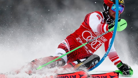 <p>               Austria's Marcel Hirscher speeds down the course during a ski World Cup men's Slalom race, in Saalbach-Hinterglemm, Austria, Thursday, Dec. 20, 2018. (AP Photo/Gabriele Facciotti)             </p>