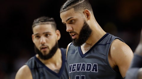 <p>               In this Saturday, Dec. 1, 2018 photo, Nevada 's Cody Martin, right, stands in front of his twin brother Caleb Martin during the second half of an NCAA college basketball game against Southern California in Los Angeles. No. 6 Nevada has matched its 8-0 start from last season, winning its games by an average of 20 points.(AP Photo/Marcio Jose Sanchez)             </p>