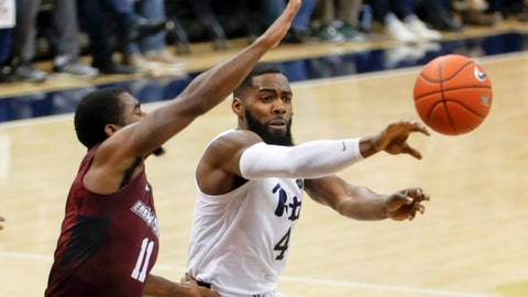 <p>               Pittsburgh's Jared Wilson-Frame (4) passes as Maryland Eastern Shore's Ahmad Frost (11) defends during the first half of an NCAA college basketball game, Saturday, Dec. 15, 2018, in Pittsburgh. (AP Photo/Keith Srakocic)             </p>