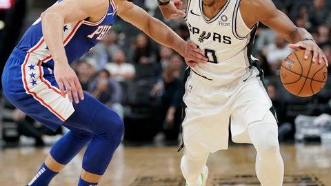 <p>               San Antonio Spurs' DeMar DeRozan, right, drives against Philadelphia 76ers' Ben Simmons during the second half of an NBA basketball game, Monday, Dec. 17, 2018, in San Antonio. (AP Photo/Darren Abate)             </p>