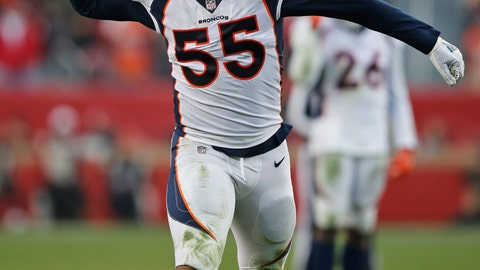 <p>               Denver Broncos outside linebacker Bradley Chubb celebrates after a play during the second half of an NFL football game against the San Francisco 49ers Sunday, Dec. 9, 2018, in Santa Clara, Calif. San Francisco won the game 20-14. (AP Photo/John Hefti)             </p>