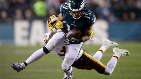 <p>               Philadelphia Eagles' Golden Tate (19) is tackled after a catch by Washington Redskins' Greg Stroman (37) during the second half of an NFL football game, Monday, Dec. 3, 2018, in Philadelphia. (AP Photo/Matt Rourke)             </p>