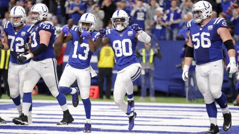 <p>               Indianapolis Colts wide receiver Chester Rogers (80) celebrates his game-winning touchdown with wide receiver T.Y. Hilton (13) during the second half of an NFL football game against the New York Giants in Indianapolis, Sunday, Dec. 23, 2018. The Colts defeated the Giants 28-27. (AP Photo/Michael Conroy)             </p>