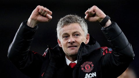 <p>               Manchester United manager Ole Gunnar Solskjaer celebrates his win against Cardiff City after the English Premier League match between Cardiff City and Manchester United at the Cardiff City Stadium in Cardiff, Wales, Saturday Dec. 22, 2018. (AP Photo/ Jon Super)             </p>