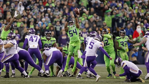 <p>               Seattle Seahawks' Bobby Wagner (54) leaps to block a field goal attempt by Minnesota Vikings' Dan Bailey in the second half of an NFL football game, Monday, Dec. 10, 2018, in Seattle. (AP Photo/Stephen Brashear)             </p>