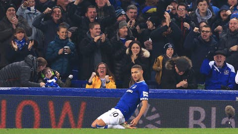 <p>               Everton's Richarlison celebrates scoring his side's first goal of the game against Newcastle United during their English Premier League soccer match at Goodison Park in Liverpool, Wednesday Dec. 5, 2018. (Peter Byrne/PA via AP)             </p>