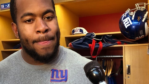 <p>               New York Giants rookie defensive lineman B.J. Hill talks to the media after NFL football practice in East Rutherford, N.J., Thursday, Dec. 6, 2018. The Giants play at the Washington Redskins on Sunday. (AP Photo/Tom Canavan)             </p>