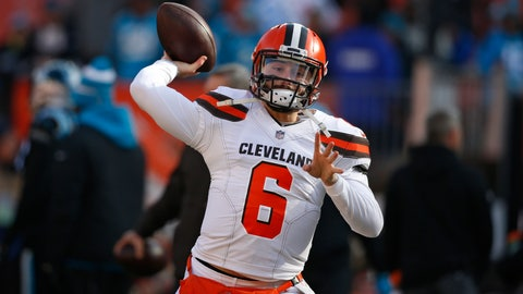<p>               FILE - In this Dec. 9, 2018, file photo, Cleveland Browns quarterback Baker Mayfield warms up before an NFL football game against the Carolina Panthers, in Cleveland. As Baker Mayfield threw passes to his receivers and backs before Sunday's game against Carolina, Browns interim coach Gregg Williams knew his rookie quarterback was going to have a good game. It wasn't anything Williams saw. It was a sound. (AP Photo/Ron Schwane, File)             </p>
