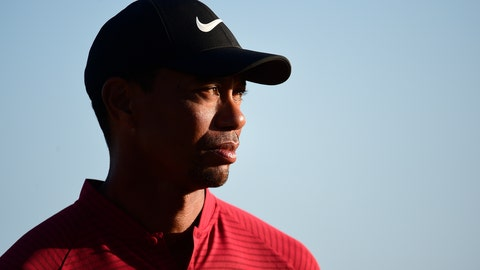 <p>               U.S. golfer Tiger Woods stands near the Hero World Challenge trophy before presenting it to Spain's Jon Rahm at Albany Golf Club in Nassau, Bahamas, Sunday, Dec. 2, 2018. (AP Photo/Dante Carrer)             </p>