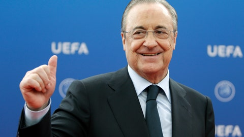 <p>               FILE - In this file photo dated Thursday, Aug. 30, 2018, Real Madrid President Florentino Perez gives a thumbs up as he arrives for the UEFA Champions League draw at the Grimaldi Forum, in Monaco. In a speech during Real Madrid's most recent general assembly, president Florentino Perez answered questions from club members, and when asked about plans to create a women's team, Perez didn't answer. (AP Photo/Claude Paris, FILE)             </p>
