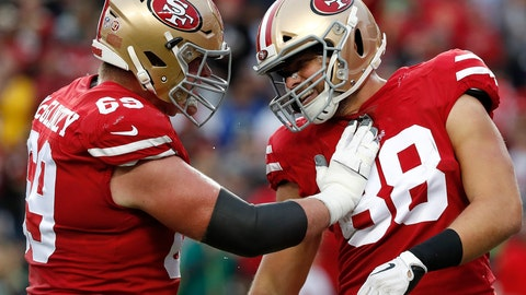 <p>               San Francisco 49ers tight end Garrett Celek (88) is congratulated by offensive tackle Mike McGlinchey after scoring against the Seattle Seahawks during the first half of an NFL football game in Santa Clara, Calif., Sunday, Dec. 16, 2018. (AP Photo/Tony Avelar)             </p>