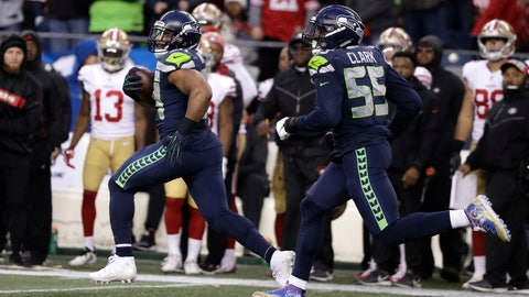 <p>               Seattle Seahawks middle linebacker Bobby Wagner, left, runs with defensive end Frank Clark (55) after intercepting a pass and running for a 98-yard touchdown against the San Francisco 49ers during the second half of an NFL football game, Sunday, Dec. 2, 2018, in Seattle. (AP Photo/Elaine Thompson)             </p>