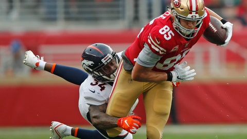 <p>               San Francisco 49ers tight end George Kittle (85) runs with the ball away from Denver Broncos strong safety Will Parks (34) during the first half of an NFL football game Sunday, Dec. 9, 2018, in Santa Clara, Calif. (AP Photo/John Hefti)             </p>