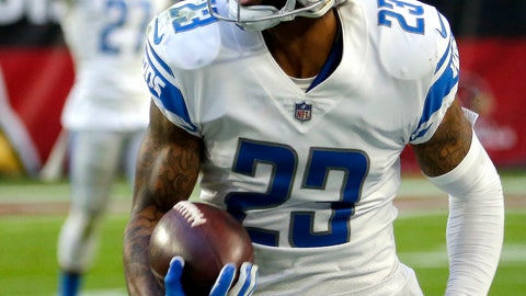<p>               Detroit Lions cornerback Darius Slay (23) runs back his interception for a touchdown against the Arizona Cardinals during the second half of NFL football game, Sunday, Dec. 9, 2018, in Glendale, Ariz. (AP Photo/Rick Scuteri)             </p>