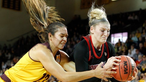 <p>               Central Michigan's Reyna Frost, left, and Louisville's Sam Fuehring vie for a rebound during the second quarter of an NCAA college basketball game, Thursday, Dec. 20, 2018, in Mount Pleasant, Mich. (AP Photo/Al Goldis)             </p>