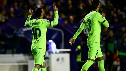 <p>               FC Barcelona's forward Lionel Messi, left, celebrate after scoring the 0-4 goal with his teammate FC Barcelona's defender Gerard Pique, right, during their La Liga soccer match between Levante UD and FC Barcelona at Ciutat de Valencia stadium in Valencia, Spain, Sunday, Dec. 16, 2018. (AP Photo/Jose Miguel Fernandez de Velasco)             </p>
