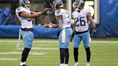 <p>               Tennessee Titans inside linebacker Wesley Woodyard, left, celebrates after free safety Kevin Byard, center, intercepted a pass from New York Giants quarterback Eli Manning, not pictured, during the second half of an NFL football game, Sunday, Dec. 16, 2018, in East Rutherford, N.J. Titans cornerback Logan Ryan (26) looks on during the celebration. (AP Photo/Seth Wenig)             </p>