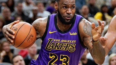 <p>               FILE - In this Dec. 7, 2018, file photo, Los Angeles Lakers' LeBron James (23) drives against the San Antonio Spurs during the first half of an NBA basketball game, in San Antonio. LeBron James was named The Associated Press Male Athlete of the Year on Thursday, Dec. 27, 2018. (AP Photo/Darren Abate, File)             </p>