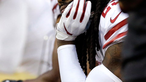 <p>               San Francisco 49ers cornerback Richard Sherman sits on the bench late in the second half of an NFL football game against the Seattle Seahawks, Sunday, Dec. 2, 2018, in Seattle. (AP Photo/John Froschauer)             </p>