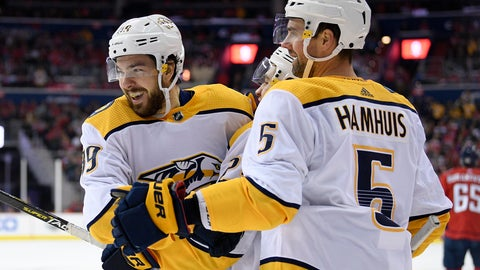 <p>               Nashville Predators center Frederick Gaudreau, left, celebrates his goal with defenseman Dan Hamhuis (5) during the second period of an NHL hockey game against the Washington Capitals, Monday, Dec. 31, 2018, in Washington. (AP Photo/Nick Wass)             </p>