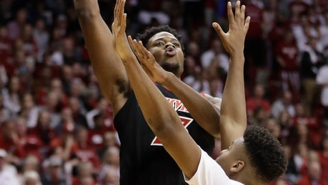 <p>               Louisville's Steven Enoch (23) shoots over Indiana's Juwan Morgan (13) during the first half of an NCAA college basketball game, Saturday, Dec. 8, 2018, in Bloomington, Ind. (AP Photo/Darron Cummings)             </p>