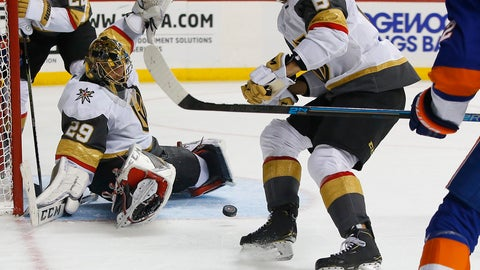 <p>               Vegas Golden Knights defenseman Colin Miller (6) watches the puck after a save by goaltender Marc-Andre Fleury (29) against the New York Islanders during the second period of an NHL hockey game, Wednesday, Dec. 12, 2018, in New York. (AP Photo/Noah K. Murray)             </p>