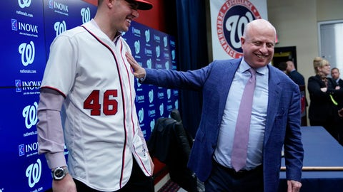 <p>               Washington Nationals owner Mark Lerner, right, greets pitcher Patrick Corbin, left, during a baseball news conference at Nationals Park in Washington, Friday, Dec. 7, 2018. Corbin agreed to terms on a six-year contract and joins the Nationals after playing for the Arizona Diamondbacks. (AP Photo/Pablo Martinez Monsivais)             </p>