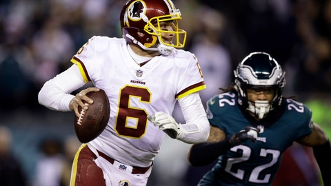 <p>               FILE - In this Monday, Dec. 3, 2018, file photo, Washington Redskins quarterback Mark Sanchez (6) looks to pass during an NFL football game against the Philadelphia Eagles,, Philadelphia. The 32-year-old Sanchez hasn't won a regular-season start in almost exactly four years.  He'll be on the field Sunday when Washington (6-6) hosts the New York Giants (4-8). (AP Photo/Matt Rourke, File)             </p>