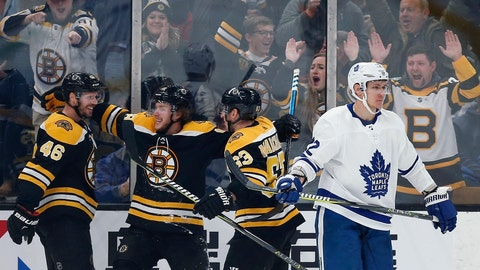 <p>               Boston Bruins' David Krejci (46) celebrates his goal with teammates Brad Marchand (63) and David Pastrnak as Toronto Maple Leafs' Nikita Zaitsev (22) skates away during the third period of an NHL hockey game in Boston, Saturday, Dec. 8, 2018. (AP Photo/Michael Dwyer)             </p>