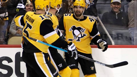 <p>               Pittsburgh Penguins' Zach Aston-Reese (46) celebrates his goal during the second period of an NHL hockey game against the Boston Bruins in Pittsburgh, Friday, Dec. 14, 2018. (AP Photo/Gene J. Puskar)             </p>