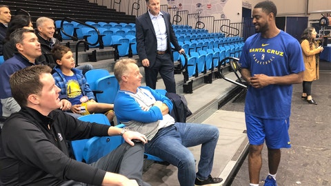 <p>               In this Dec. 4, 2018 photo, from left, Santa Cruz Warriors coach Aaron Miles visits with fans and sponsors after their basketball practice in Santa Cruz, Calif. As the Santa Cruz Warriors huddled together after practice, Darius Morris gave a quick recap of his adventure to the Arizona desert a day earlier to interview with the Suns. Phoenix needed a point guard with Devin Booker's hamstring injury, and Morris was in the mix. Coach Aaron Miles, who so wishes he were still playing, had to stand in leading the offense given Morris' absence. Such is life in the topsy-turvy, changing-by-the-day G League, when Golden State or another club might come calling at a moment's notice to swipe a top player for promotion to the NBA. (AP Photo/Janie McCauley)             </p>