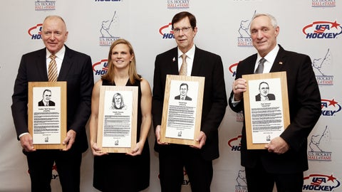 <p>               From left, former Michigan coach Red Berenson, three-time Olympic medalist Natalie Darwitz, Nashville Predators general manager David Poile and retired NHL hockey referee Paul Stewart pose with their plaques before being inducted into the U.S. Hockey Hall of Fame, Wednesday, Dec. 12, 2018, in Nashville, Tenn. (AP Photo/Mark Humphrey)             </p>