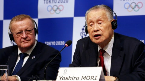<p>               FILE - In this Dec. 5, 2018, file photo, Tokyo 2020 President Yoshiro Mori, right, speaks as IOC inspection team head John Coates listens during a press conference in Tokyo. Organizers of the 2020 Tokyo Olympics said Friday, Dec. 21, 2018, they picked up another $1 million in domestic sponsorships and that the operating budget for the games remains at $5.6 billion. (AP Photo/Koji Sasahara, File)             </p>