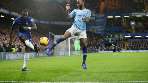 <p>               Chelsea's Antonio Rudiger, left, and Manchester City's Raheem Sterling compete for the ball during the English Premier League soccer match between Chelsea and Manchester City at Stamford Bridge in London, Saturday Dec. 8, 2018. (AP Photo/Tim Ireland)             </p>