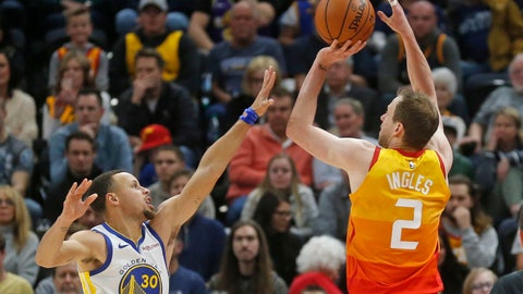 <p>               Utah Jazz forward Joe Ingles (2) shoots as Golden State Warriors guard Stephen Curry (30) defends in the first half during an NBA basketball game Wednesday Dec. 19, 2018, in Salt Lake City. (AP Photo/Rick Bowmer)             </p>