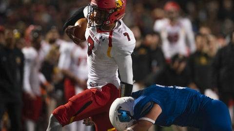 <p>               In this Oct. 13, 2018, photo, Ferris State quarterback Jayru Campbell (7) runs the ball as Grand Valley State linebacker Brendan McMahon (3) tackles him during an NCAA college football game in Grand Rapids, Mich. Ferris State defeated Grand Valley State 35-31. Campbell, who has led the Bulldogs to the national championship game, highlights The Associated Press Division II All-America team along with two of his teammates. Campbell, a junior, has passed for 2,832 and 26 touchdowns and run for 1,338 and 20 scores, leading Ferris State to a 15-0 record heading into the D-II championship game against Valdosta State on Saturday. (Alyssa Keown/The Grand Rapids Press via AP)             </p>